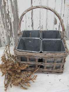 *woven wicker basket  *4 galvanized metal pots  *{perfect} for herbs OR organizing desktop staples  *gray wash patina  *one swing handle