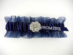 Navy Prom Garter w/Crystal Flower