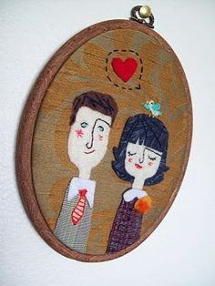 Portrait in thread and felt {wedding gift }