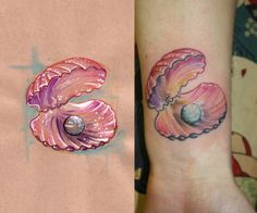 pearl / birthstone and shell tattoo