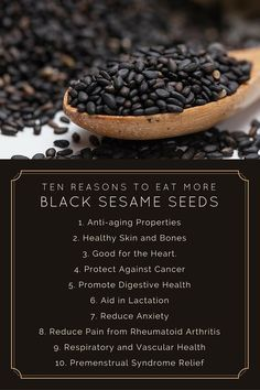 10 awesome reasons to start eating black sesame seeds! Benefits of black sesame seeds. http://urbol.com/black-sesame-seeds/