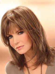 Jacklyn Smith Mature and Beautiful Mid-length Layered Straight Human Hair Wig,Celebrity Wigs Hairstyles With Bangs, Straight Hairstyles, Cool Hairstyles, Hairstyles 2016, Layered Hairstyles, Braided Hairstyles, Beautiful Hairstyles, Elegant Hairstyles, Midlength Layered Hair
