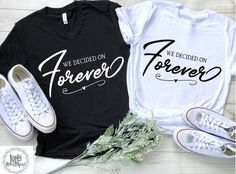 i am married We Decided on Forever Matching Couples T-Shirts Matching Couple Outfits, Matching Couples, Cute Couple Shirts, Mrs Shirt, Wedding Shirts, Just Married, Workout Shirts, Marie, Marriage Retreats