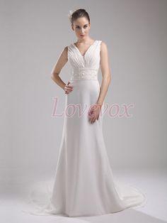 V Neck Chiffon Wedding Dress with Embellished Waistband, Bohemian Wedding Dress, Womens Formal Evening Dress, Bridal Dress Wedding HSWD4101 on Etsy, $179.00