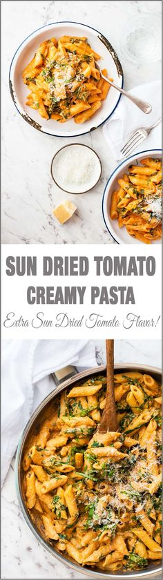 Creamy Sun Dried Tomato Pasta - it's like a creamy pesto, bursting with sun dried tomato and basil flavours!