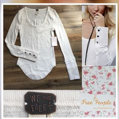 Free People Snap Cuff Thermal Ivory ✨NWT Free People  Snap Cuff Thermal  Color:Ivory Size- Small  This Is New with Tags attached I bought this and the Black Snap Cuff for Christmas still have tags on Free People Tops Tees - Long Sleeve