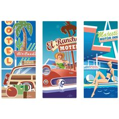This wall decal set lets you decorate an entire wall in your home or business with a cool vintage look. Includes three peel and stick wall graphics with a fun hotel and motel theme. Each decal is 10 x 23 and made of premium, textured polyester.  They're easy to apply and remove and are made in the USA. Copyright Larry Hunter/artlicensing.com. This three-decal set includes:  Motel El Rancho; Motel Pool; and Motel Vacation Woody Wagon.