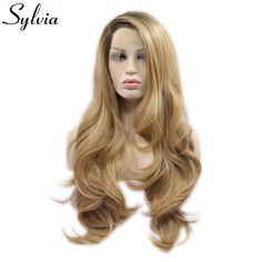 Sylvia Synthetic Wigs Heat Resistant Lace Front Wig For Women Wigs Hair Highlight Blonde Color Middle Part Hair Long Body Wave Discounts Price Synthetic None-lacewigs