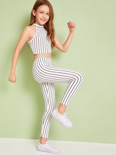 Girls Striped Crop Halter Top & Leggings Set Fashion conveys modify in their many common Preteen Girls Fashion, Girls Fashion Clothes, Kids Outfits Girls, Cute Girl Outfits, Cute Outfits For Kids, Teen Fashion Outfits, Girly Outfits, Cute Casual Outfits, Pretty Outfits
