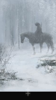The hunter in snowy cold lonliness.