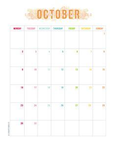 Ya estamos en Octubre aunque no lo parezca. Os comparto el calendario deeste mespara que podáis imprimirlo y usarlo como más os convenga. ¡Que lo disfrutéis! :)