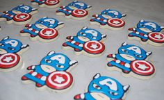 Captain America decorated Sugar Cookies