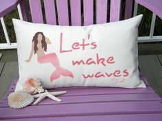 Mermaid LETS MAKE WAVES pillow indoor outdoor 12x20 by crabbychris, $38.00