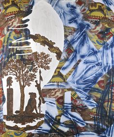 Sigmar Polke (German, 1941-2010), Forêt Nationale, 1989. Acrylic and spray paint on printed fabric, 180 x 150 cm.