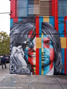 In Living Color: The 2018 Kobra Street Art Occupation of New York City - 27 Club mural by Kobra Street Art featuring Janis Joplin and Kurt Cobain in New York City via Mad H - # Street Art Banksy, Murals Street Art, 3d Street Art, Kobra Street Art, Street Art News, Urban Street Art, Best Street Art, Amazing Street Art, Mural Art