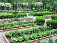 Stor köksträdgård med tegelkanter och kanthäckar