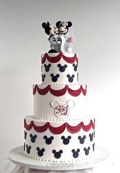 wedding cakes disney mickey and minnie wedding cake Mickey And Minnie Cake, Bolo Mickey, Mickey And Minnie Wedding, Mickey Cakes, Minnie Mouse Cake, Mickey Birthday, Wedding Cakes With Cupcakes, Wedding Cake Toppers, Disney Inspired Wedding