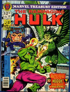 Chuck's Stuff has this 1980 Marvel Treasury Edition #26 Rampaging Hulk comic for sale for $10. Very Fine 8.0 or better, details on site. Reprints Hulk #167-170, but has a NEW 6 page Wolverine and Hercules story too. If re-pinning, you can edit the description if you want. #comicbooks