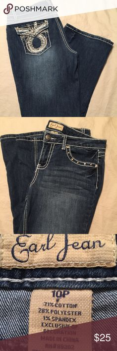Like New Jeans Comfy and cute! They are 37' long while the  inseem measures 28' long, and the waist 17' wide. They might be considered boot cut. Earl Jeans Jeans