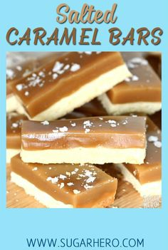 Salted Caramel Bars - buttery shortbread, soft and chewy caramel, and crunchy sea salt! | From SugarHero.com #sugarhero #caramel #cookiebars #shortbread #seasalt #saltedcaramel