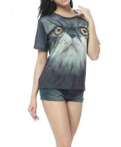 eadc3b734b7b 3D Cat Head Print T-shirt HICUSTOM.COM Cat Clothing