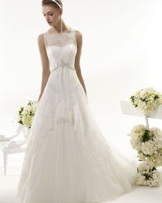 Simple A-line Straps Beading&Sequins Lace Sweep/Brush Train Wedding Dresses