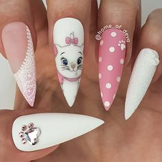 Want some ideas for wedding nail polish designs? This article is a collection of our favorite nail polish designs for your special day. Disney Acrylic Nails, Summer Acrylic Nails, Best Acrylic Nails, Disney Nails Art, Summer Nails, Disney Nail Designs, Nail Art Designs, Nail Swag, Perfect Nails