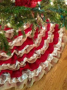 Gorgeous red and burlap ruffle tree skirt with lace on etsy! Southern Rose Designs #rustic #treeskirt