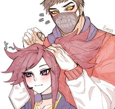 This is just a sister brother thing i think it just so cute by the way this is not a shippost Akali League Of Legends, League Of Legends Characters, Lol League Of Legends, X League, Xayah And Rakan, Masked Man, Mobile Legends, Kawaii Art, Paladin
