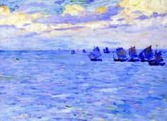 Fishing Boats Setting Sail by Theo van Rysselberghe (Belgium)