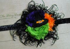 Halloween Flower Witch Hat Clip with feathers plus by thebitsybeau, $18.95