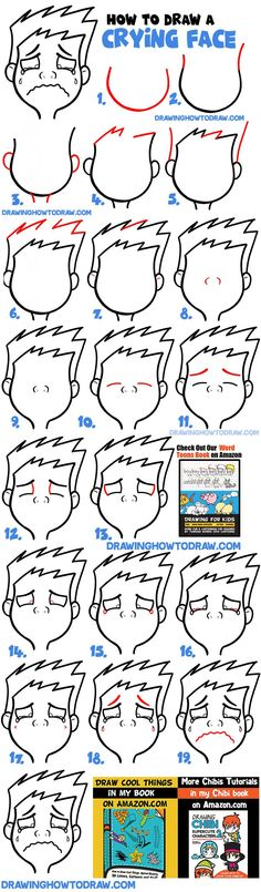 How to Draw Cartoon Facial Expressions : Crying, Sobbing, Weeping - How to Draw Step by Step Drawing Tutorials Crying Cartoon, Cartoon Boy, Cartoon Faces, Cartoon Drawings, Drawing Animals, Drawing Faces, Animal Drawings, Easy Arts And Crafts, Arts And Crafts Projects