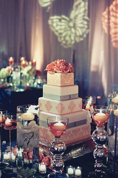 The couple chose a square cake patterned in their wedding colors.