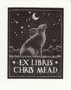 Ex Libris Chris Mead. Bookplate, book, illustration, stamp