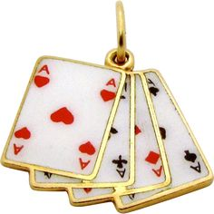 Vintage 14K Gold Lucky *Four Aces* Enameled Poker Hand Playing Cards Charm/Pendant..