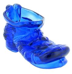 RARE ANTIQUE COBALT BLUE GLASS HOBO TRAMP SLOUCHED BOOT SHOE CANDY ASHTRAY