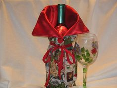 Christmas Kitty  Wine bottle Bag / Holder / Cozy by JosieeDesigns, $12.00