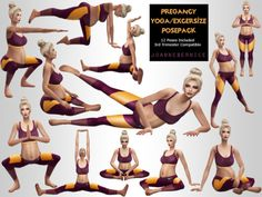 """joannebernice: """" PREGNANT YOGA POSES Click the image above for a larger picture This one was a private request made by I made pretty much all the poses on a video they gave me found HERE. I know we all have some pregnant sims and they."""