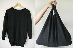 Sweatshirt Market Tote Bag Pattern - How to make a bag, free bag patterns to sew