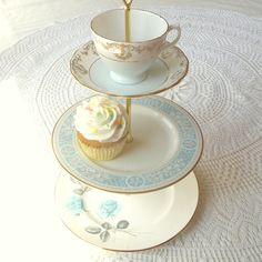 Pale Pastel Light Sky Blue 3 Tiered Cupcake Stand, Tea Party Centerpiece or Boy's Baby Shower Cookie Display with Tiers of English China Dishes (Teacup / Cup, Saucer, Plates) by High Tea for Alice