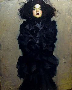 Woman, dark, luxurious, luscious, black, claoked, confidence, portrait: Painting by Malcolm Liepke