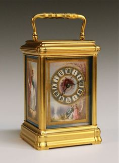 GOOD FRENCH PORCELAIN PANEL CARRIAGE CLOCK