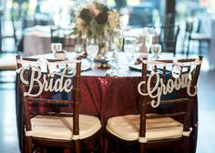 Bride and Groom Chair Signs for Wedding by ZCreateDesign