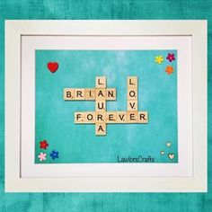 Scrabble Tile White Frame  Personalised Personalized image 8 Scrabble Tile Art, Scrabble Frame, Personalised Frames, Personalized Gifts, Fathers Day Gifts, Gifts For Dad, Handmade Christmas Gifts, Handmade Gifts, Lego Frame