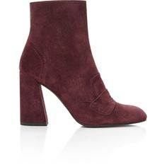 Stuart Weitzman     Moxanne Bootie ($480) ❤ liked on Polyvore featuring shoes, boots, ankle booties, short boots, burgundy loafers, suede loafers, burgundy bootie and suede bootie