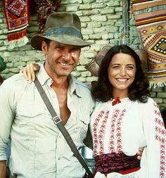 Harrison Ford and Karen Allen behind the scenes of Raiders of the Lost Ark (1981)