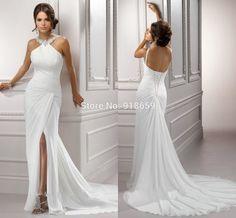 White Chiffon New Arrival 2016 Front Side Slit Halter Beach Backless Wedding Dress Gown vestido de noiva - http://fashionfromchina.net/?product=white-chiffon-new-arrival-2016-front-side-slit-halter-beach-backless-wedding-dress-gown-vestido-de-noiva