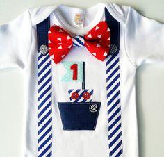 Ship Ahoy Nautical Birthday Boy 1st Birthday by LilBirdieShop