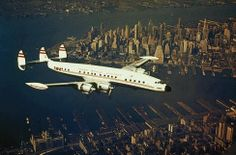 Lockheed Super Connie over New York Harbor, mid-1950s