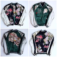 Japanese SATORI Kingyo Gold Fish Rabbit Usagi Kappa Yamabushi Hermit Warrior Flowers Embroidery Sukajan Jacket - Japan Lover Me Store
